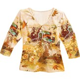 Sequined Country Autumn 3/4 Sleeves Top