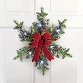 Lighted Floral Evergreen Snowflake Wreath