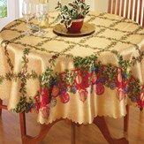 Holiday Lattice Holly & Ornament Tablecloth