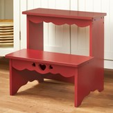 Country Red Wooden Step Stool