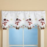 Winter Snowman & Cardinal Window Valance