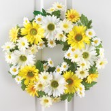 Mixed Yellow and White Daisy Wreath