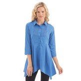 Pintuck Button Down Sharkbite Tunic