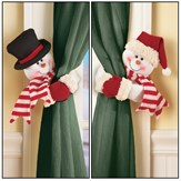 Snowman Curtain Tie Back Set Decoration