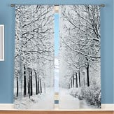 Winter Trees Scenic Window Curtains Set