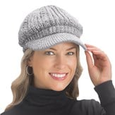 Lurex Cable Knit Beanie Hat with Visor Brim