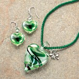 Heart Pendant Necklace with Shamrock Charm and Earrings Set
