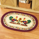 Country Rooster Braided Accent Rug
