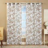 Sheer Scroll Linen Grommet Top Curtain Panel