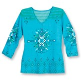 Embellished Southwest V-Neck 3/4 Sleeve Top