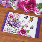 Butterfly Watercolor Floral Cushion Bath Mat