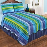 Reversible Reagan Striped Scalloped Edge Quilt