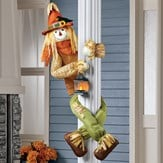 Scarecrow Porch or Tree Hugger With Lit Lantern