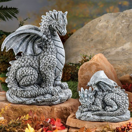 Mother And Baby Dragons Garden Statue Set 2 Pc