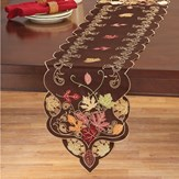 Chocolate Brown with Fall Leaves Table Topper