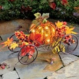 Solar Pumpkin Lighted Coach Wagon Fall Décor