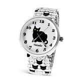 Cute Black and White Cat Watch w/ White Band