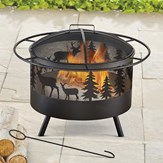 Wood Burning Metal Fire Pit w/ Hook and Lid