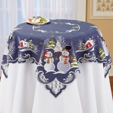Snowman Couple Table Topper Embroidered Linens