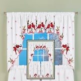 Embroidered Cardinals Window Curtain Collection