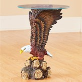 Glass Top Eagle Sculpture Accent Table