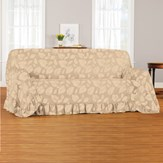 Leaf Pattern Ruffled Furniture Throw Cover