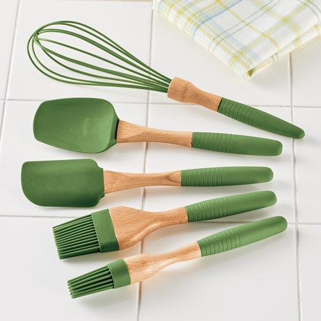 Green Silicone Kitchen Cooking Utensils - Set of 5