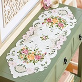 Delicate Roses Scrolling Cutout Dresser Scarf