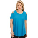 Solid Color Cold Shoulder Easy Fit Tunic