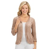 Lightweight Pointelle Knitted Open Front Shrug