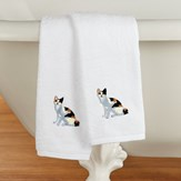 Cats Embroidered Cotton Hand Towels Set of 2