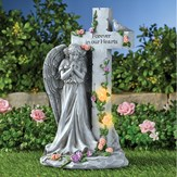 Angel with Light-Up Roses Stone-Like Memorial