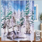 Howling Wolves Winter Forest Scene Shower Curtain