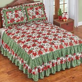 Poinsettia Floral 3-Tiered Ruffled Bedspread