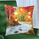 Lighted Realistic Autumn River Decorative Pillow