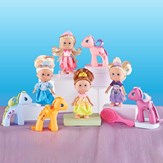 Mini Princess Dolls with Matching Ponies - Set of 9