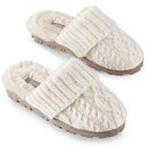 Lurex Cable Knit Slippers with Rubber Soles