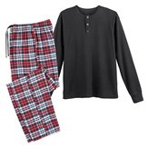 Henley Collar Mens Pajama Set with Flannel Pants