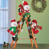 Climbing Snowmen on Lighted Ladder Holiday Decoration
