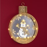 Lighted Snowman Gold-Colored Wall Ornament