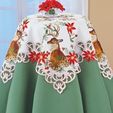 Deer Poinsettia Embroidered Cutout Table Linens