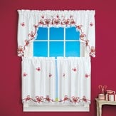 Embroidered Candy Cane Window Curtains