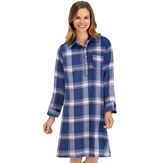 Comfy Plaid Flannel Button Front Nightshirt