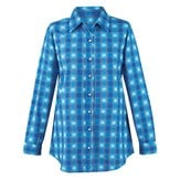 Snowflake Plaid Patterned Button-Down Shirt