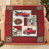 Woodland Truck Patchwork Holiday Throw Blanket