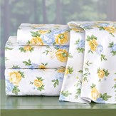 Vintage Blue and Yellow Roses Bed Sheet Set