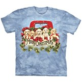 Merry Christmas Puppies in Pickup Truck T-Shirt
