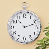 Faux Chrome Old-Time Pocket Watch Design Wall Clock