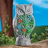 Solar Powered Stone Finish Standing Owl Garden Statue