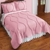 Graceful Wave Two Tone Reversible Ruffled Quilt